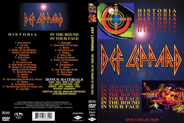 Видео концерт Def Leppard - Historia / In the Round, In Your Face 1988 VHS DVD (2001) Скачать или Смотреть Онлайн  (Download video Def Leppard - Historia / In the Round, In Your Face VHS DVD 1988 2001)